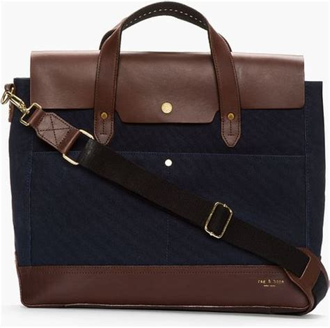 rugged leather briefcase rag bone blue leather trimmed rugged briefcase in blue for lyst