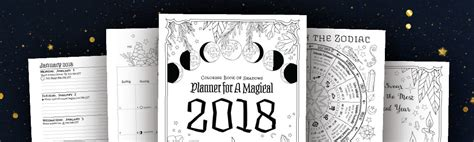 2018 coloring calendar monthly planner books planner for a magical 2018 printable pdf coloring book