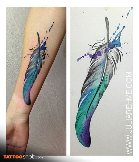 watercolor feather tattoo designs 33 watercolor feather tattoos