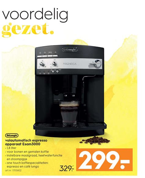 blokker espresso apparaat delonghi koffiezetapparaat volautomaat esam3000 aanbieding