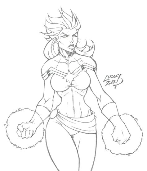 female captain marvel drawing sketch coloring page