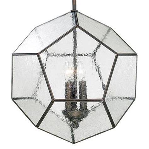 seeded glass light fixtures antique bronze modern seeded glass pentagon pendant light