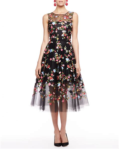 10 Floral Dresses For by Oscar De La Renta Embroidered Floral Tulle Dress Lyst