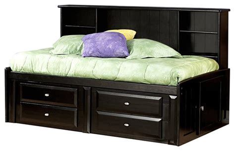 black twin bed with storage twin bed with bookcase and storage black cherry