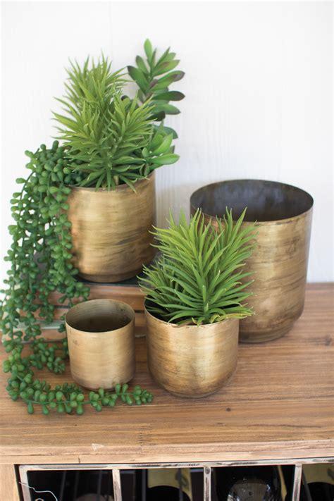 set   metal aged brass flower pots