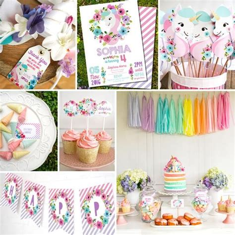 printable unicorn decorations 13 best unicorn rainbow party images on pinterest