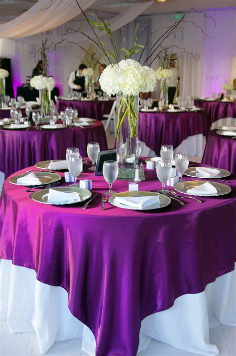table overlays for wedding reception white tablecloth with purple overlay one of my options