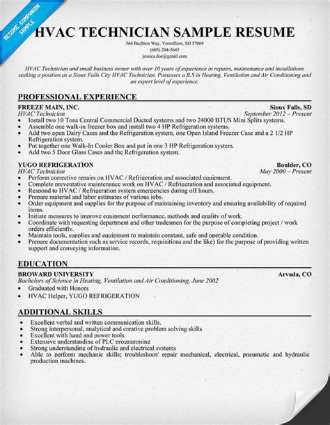 hvac resume templates hvac technician resume sle resumecompanion
