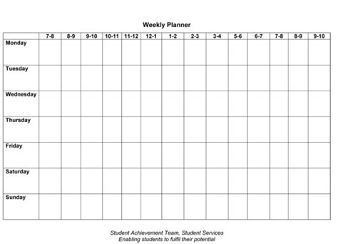 7 Free Weekly Planner Template Schedule Planners Word Excel Template For Students