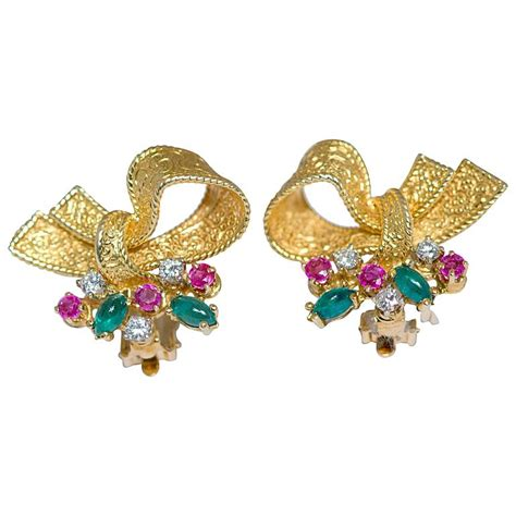 Gold Ribbon Earring ruby emerald gold ribbon earrings for sale at 1stdibs