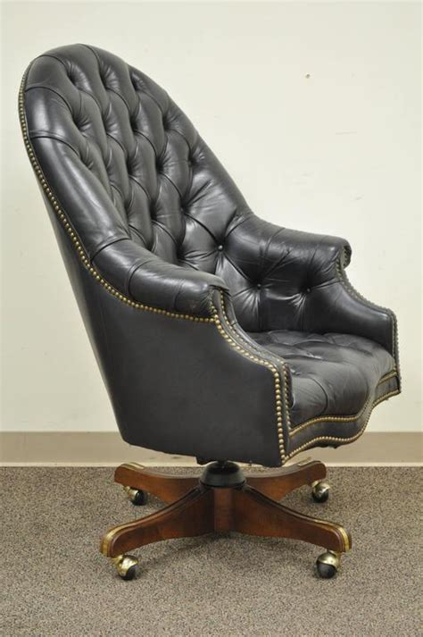 tufted leather office chair vintage vintage tufted black leather chesterfield