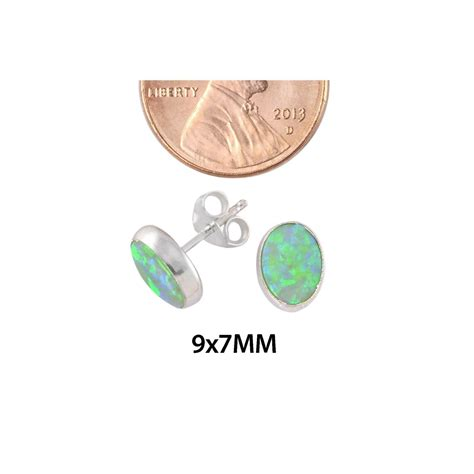 green opal earrings green opal gemstone stud earrings sterling silver 7mm x
