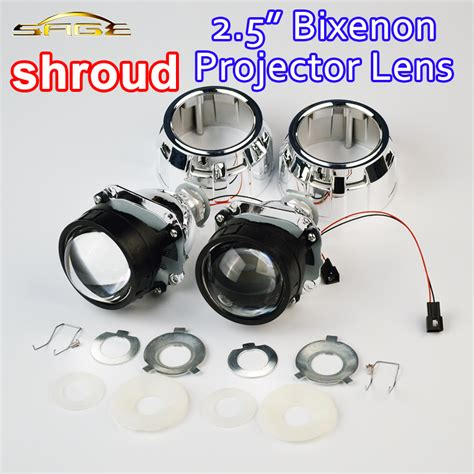 Projector Hid Bi Xenon M806 2 Inch 2 5 quot inch hid bi xenon projector lens with shroud h1 bulb socket for lhd car headlight h7 h4 h1
