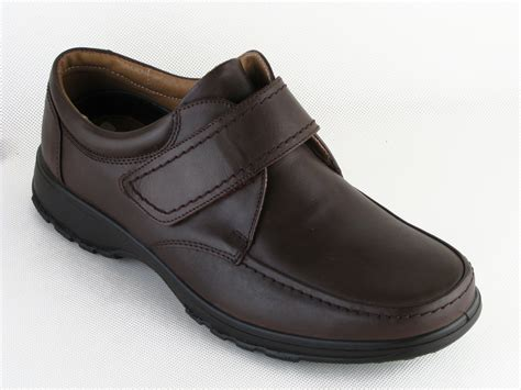 mens db wide fitting brown velcro leather shoes size