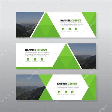 flat design header size green triangle abstract corporate business banner template
