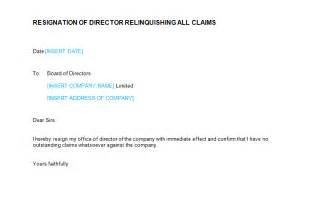 Sle Letter Of Resignation From Board Of Directors by Resignation Letter Director Relinquishing Claims Template