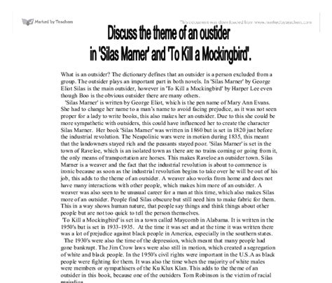 theme of outsiders in to kill a mockingbird discuss the theme of an outsider in silas marner and to