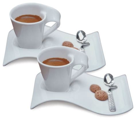 Villeroy & Boch New Wave Caffe Espresso Cups,Saucers and Spoons Set contemporary cappuccino and