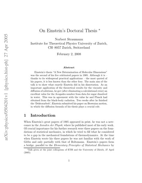 excellent dissertations pdf on einstein s doctoral thesis pdf available