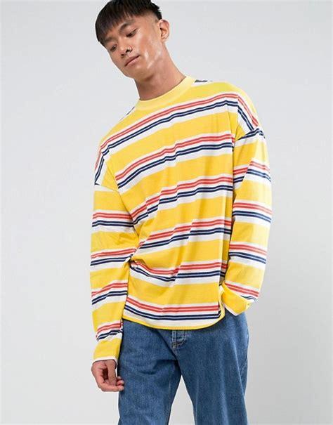 Striped Oversized Shirt asos asos oversized stripe sleeve t shirt in yellow