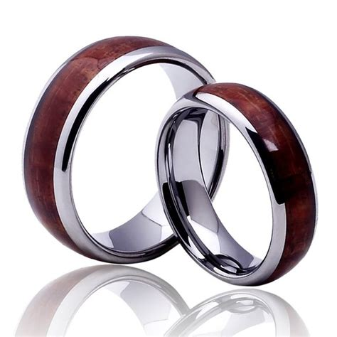 buy his hers 8mm 6mm tungsten carbide wood inlay dome