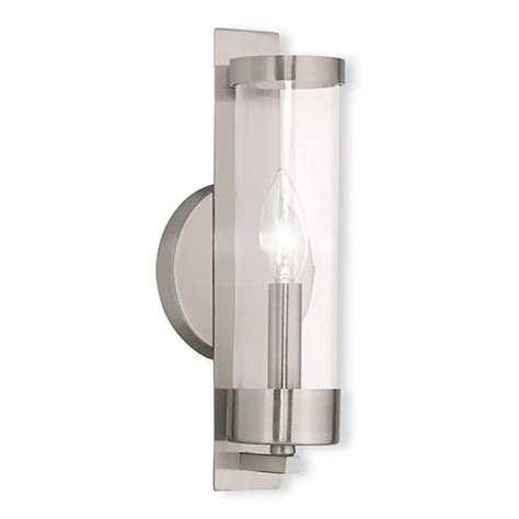 Brushed Nickel Sconce Livex Lighting Alpine 1 Light Brushed Nickel Sconce 10141