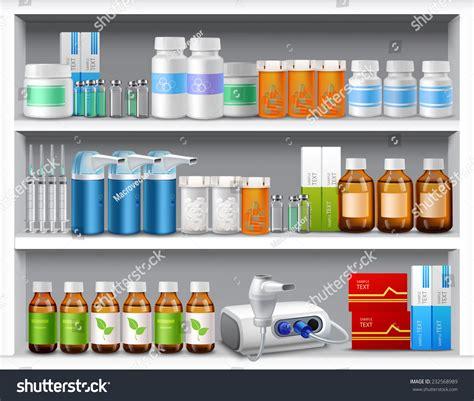 Shelf Of Medicine by Pharmacy Shelves Medicine Pills Bottles Liquids Stock