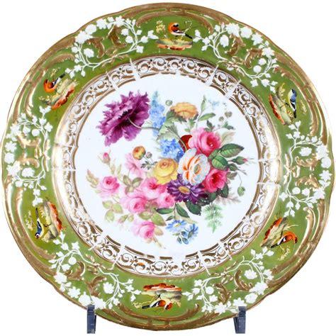 Gorgeous Botanical Plates by Antique Rockingham Painted Botanical Plates From
