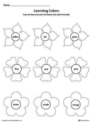 learning colors worksheets learning colors and tracing flowers worksheet
