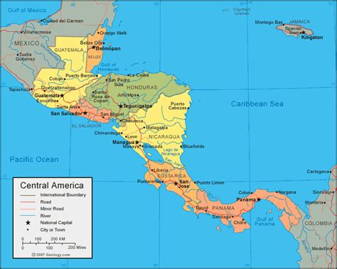 central map central america map and satellite image