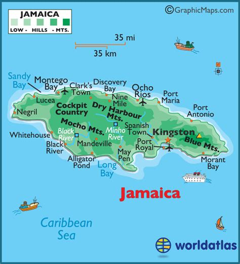 jamaica large color map