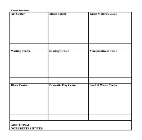 Printable Blank Lesson Plan Template by Sle Toddler Lesson Plan Template Free Sles