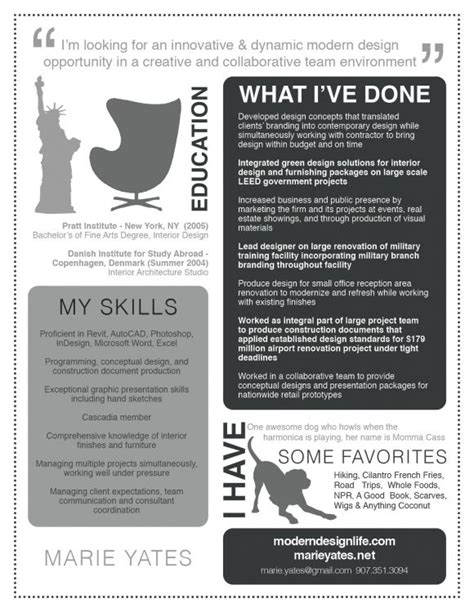 Interesting Resume Designs by Interesting Resume From An Interior Designer Graphic