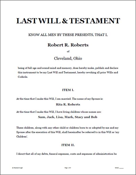 standard will template last will and testament sle form free printable documents