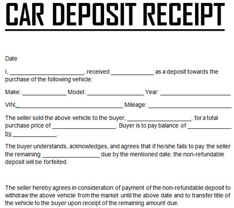 Car Deposit Receipt Template Pdf by Car Payment Deposit Receipt Template Excel Templates