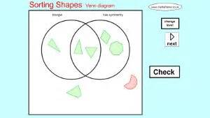 sorting 2d shapes on a venn diagram mathsframe