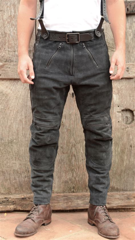 motorbike trousers el solitario rascal leather motorcycle pants black el