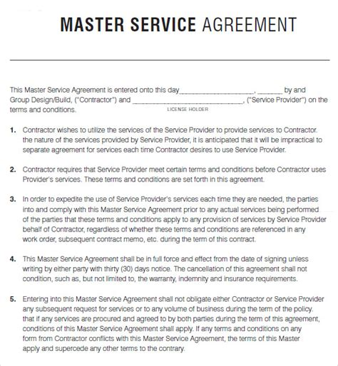 master contract template master service agreement template playbestonlinegames