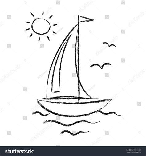 sailboat line drawing vector drawing of sailboat stock vector 102605735 shutterstock