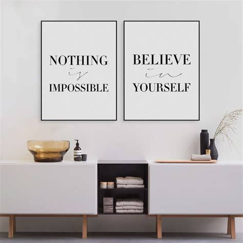 Black minimalist motivational typography believe quotes art print poster wall picture canvas