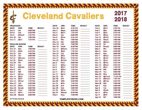 Cavs Printable Schedule 2018 printable 2017 2018 cleveland cavaliers schedule