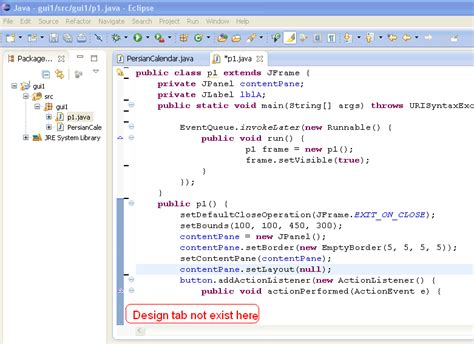 java swing tab import existing java project in eclipse but design view
