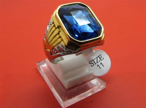 Cincin Titanium 14 Jual Cincin Titanium Import Kombinasi Pria Cowok Biru