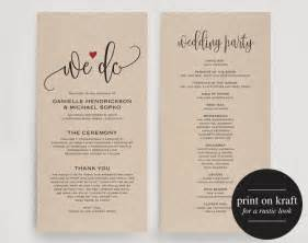 wedding program editable template we do wedding program