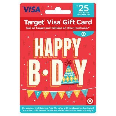 Target Gift Card Fees - visa happy b day gift card 25 4 fee target