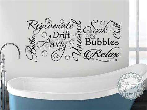 Bathroom wall sticker montage word art collage vinyl decor decal with bubbles