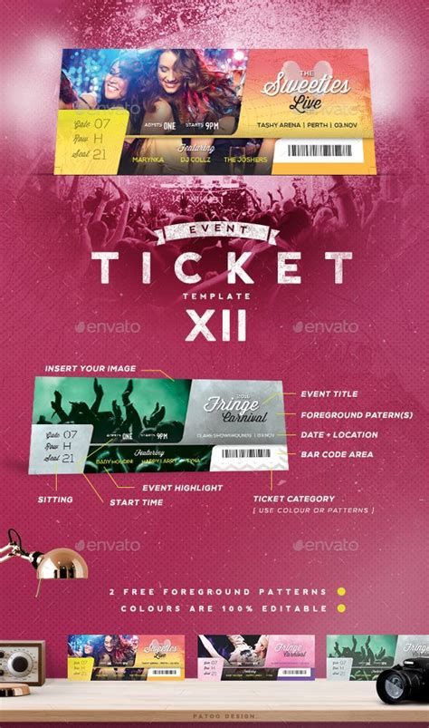 Event Tickets Template Xii Photoshop Ticket Template And Templates Event Ticket Template Photoshop