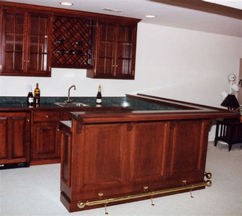 cherry basement bar with refrigerator