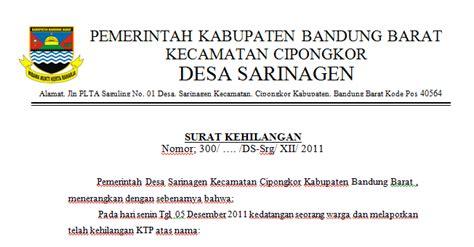 contoh format surat keterangan kehilangan ktp dari desa