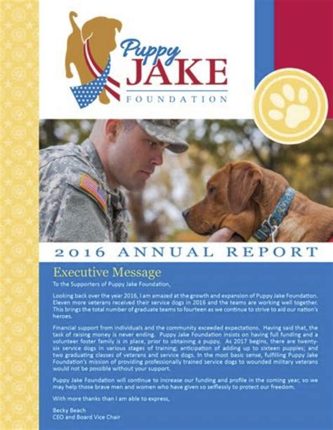 puppy jake foundation 2016 annual report puppy jake foundation